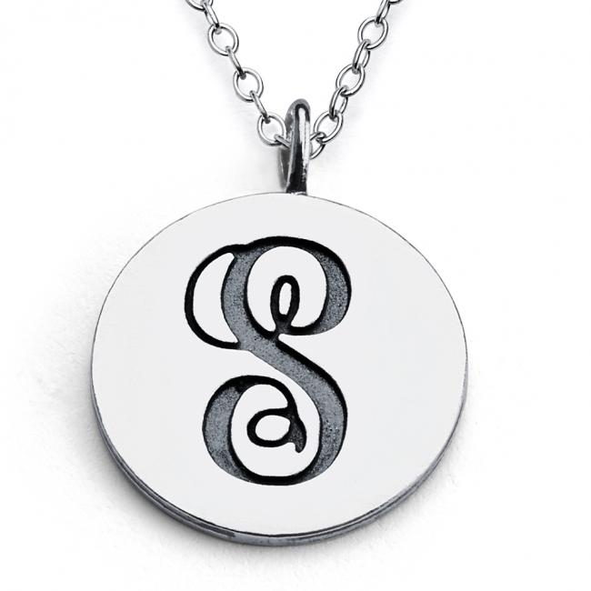 925 sterling silver necklace S Script Letters