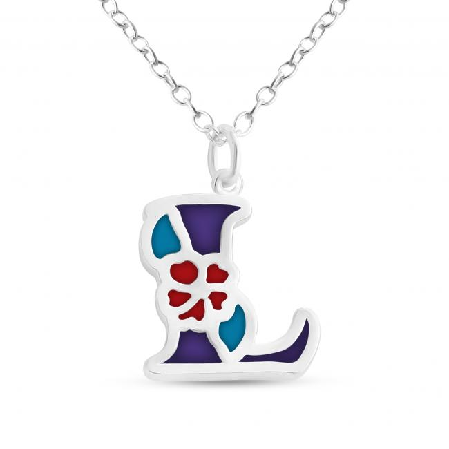 925 sterling silver necklace Colored Initial Letter L with Flower
