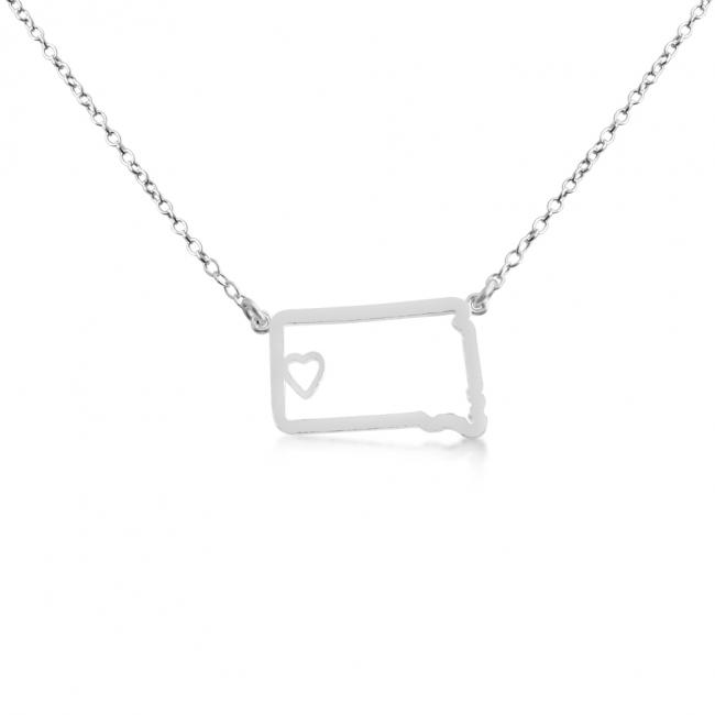 925 sterling silver necklace South Dakota Home is Where The Heart Is State Necklace