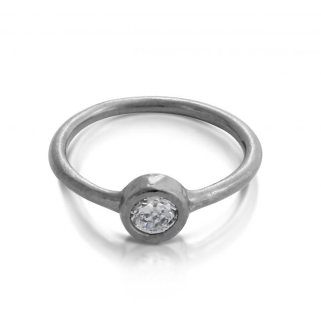 925 sterling silver ring Oxidized Stackable Ring w/ CZ