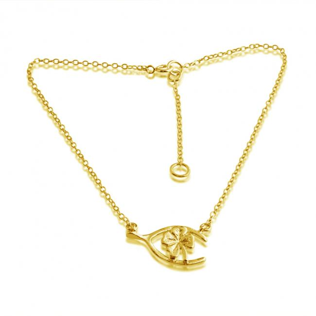 Gold plated anklet Wishbone Four-Leaf Clover Lucky Charm Pendant