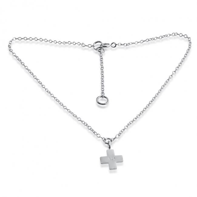 925 sterling silver anklet Greek Cross Pendant Charm