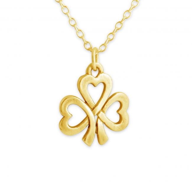Gold plated necklace Hearts of Shamrock Irish Lucky Clover