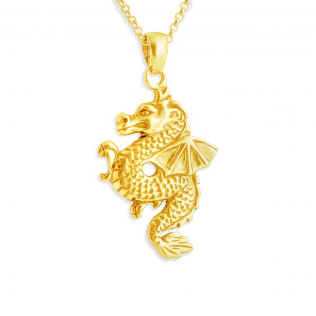 Gold plated necklace Chinese Dragon with Wings Zodiac Sign