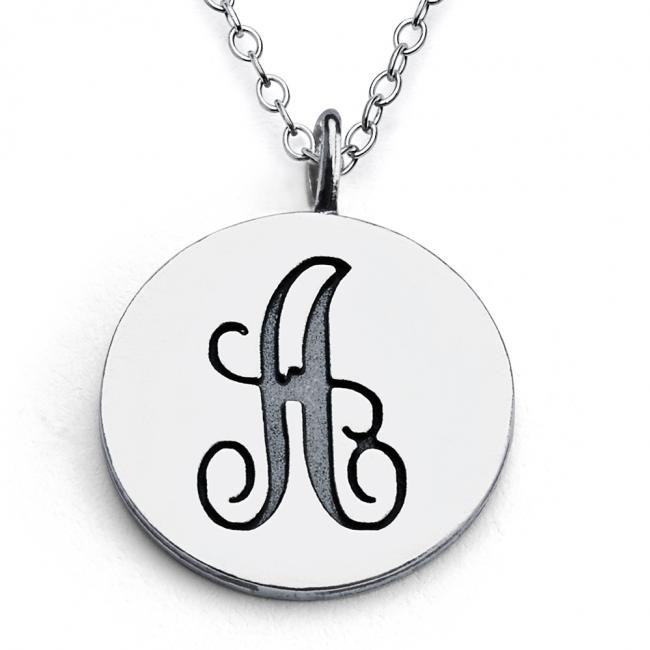 925 sterling silver necklace A Script Letters