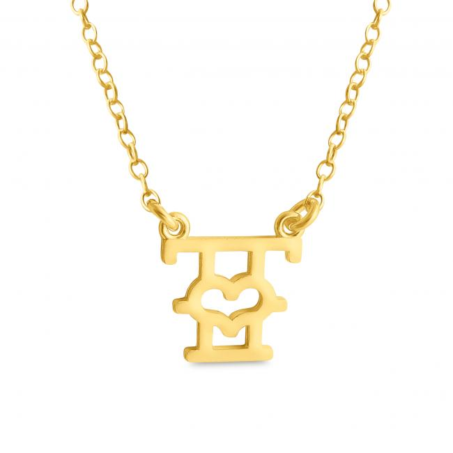 Gold plated necklace Initial Letter T with Heart Sideways