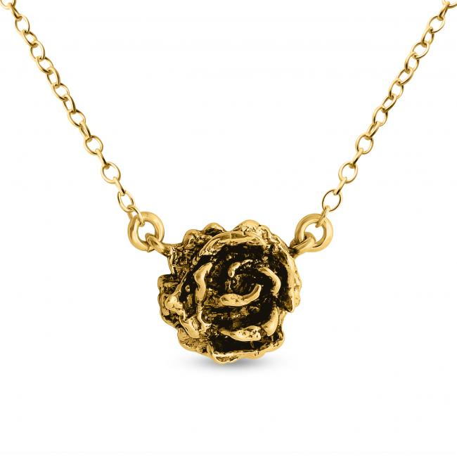 Gold plated necklace Tea Rose Jump Ring Necklace