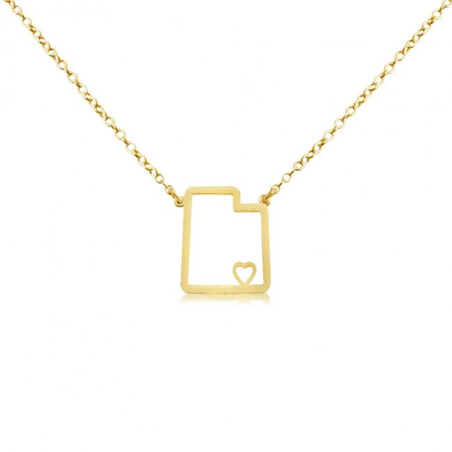 Gold plated necklace Utah Home is Where The Heart Is State Necklace
