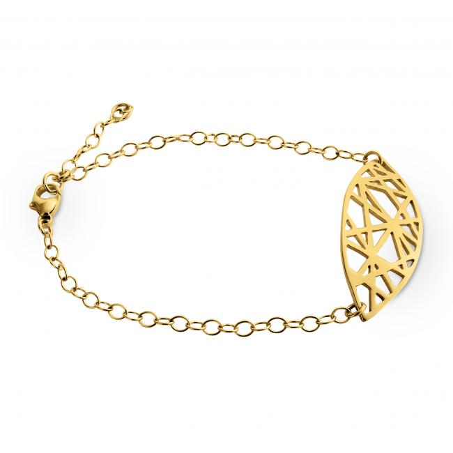Gold plated bracelet Abstract Mandorla Charm Chain