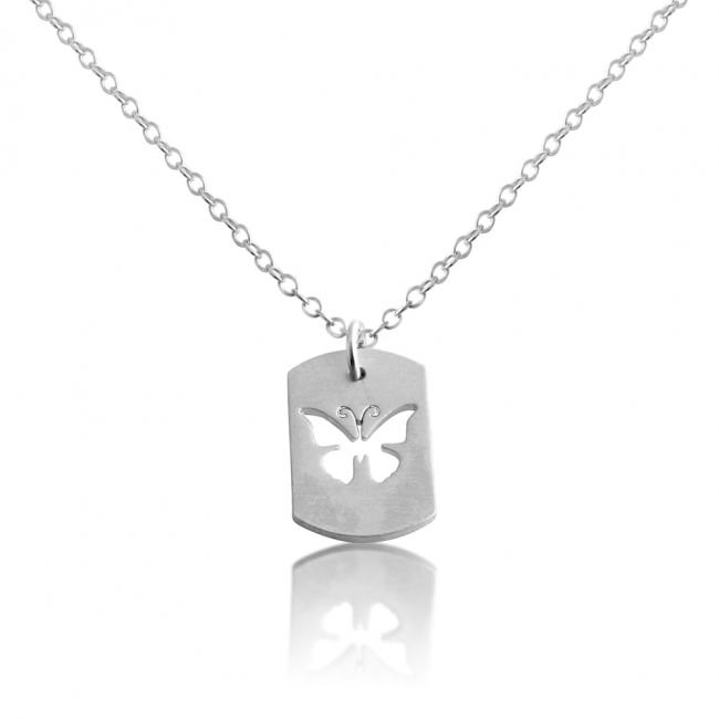 925 sterling silver necklace Butterfly Dog Tag