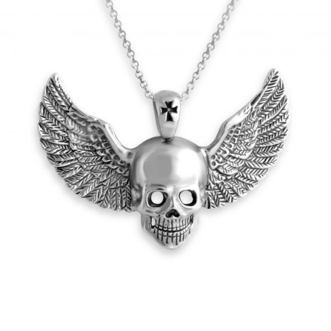 925 sterling silver necklace Skull w/ Wings