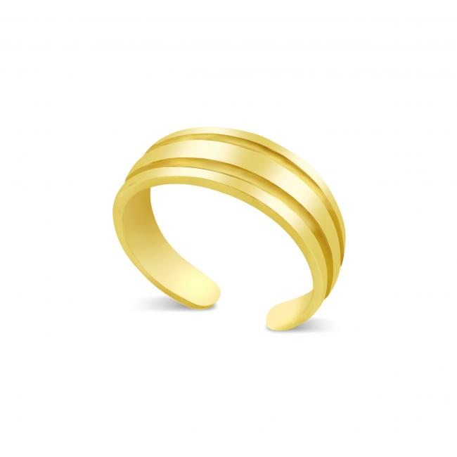 Gold plated ring 2 Lines Adjustable Toe Ring