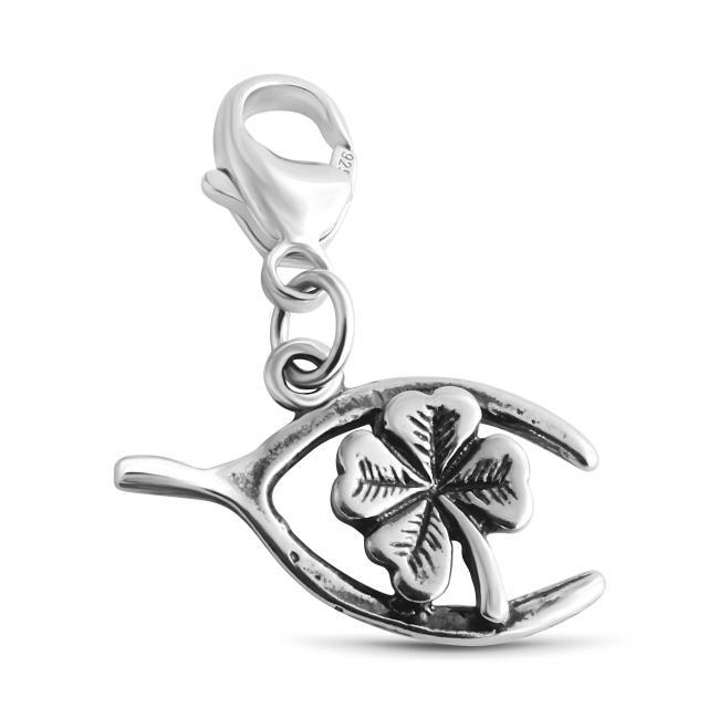 925 sterling silver necklace Wishbone Four Leaf Clover Lucky