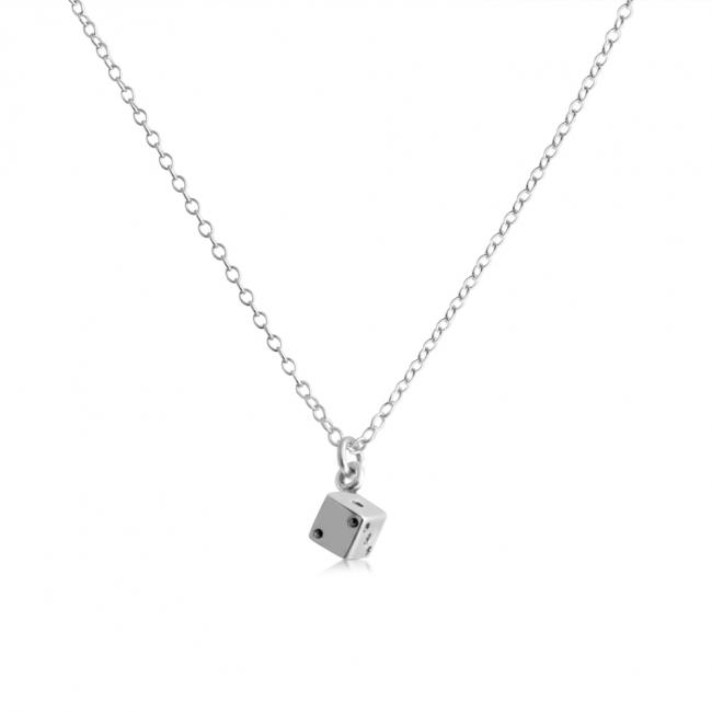 925 sterling silver necklace Tiny Die/ Dice Fun Lucky 7 11