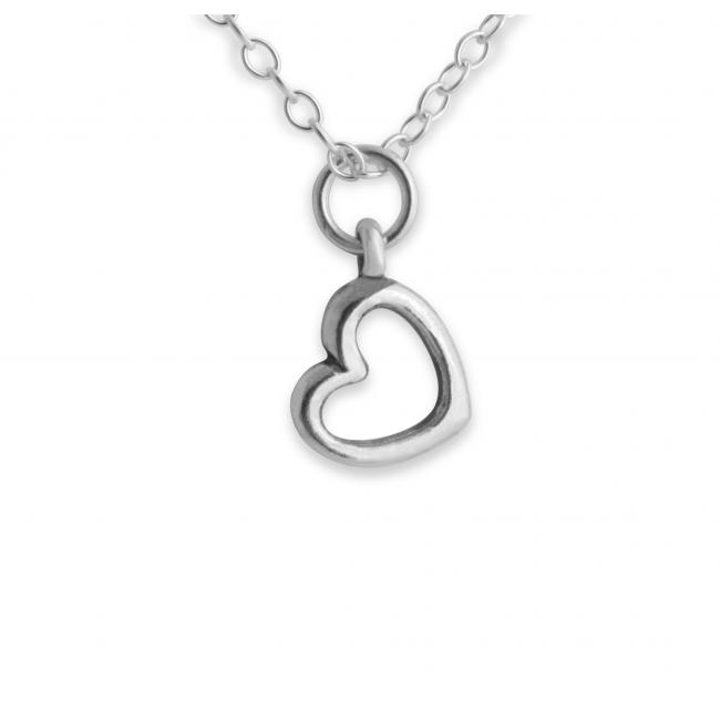 925 sterling silver necklace Tiny Outline Precious Heart