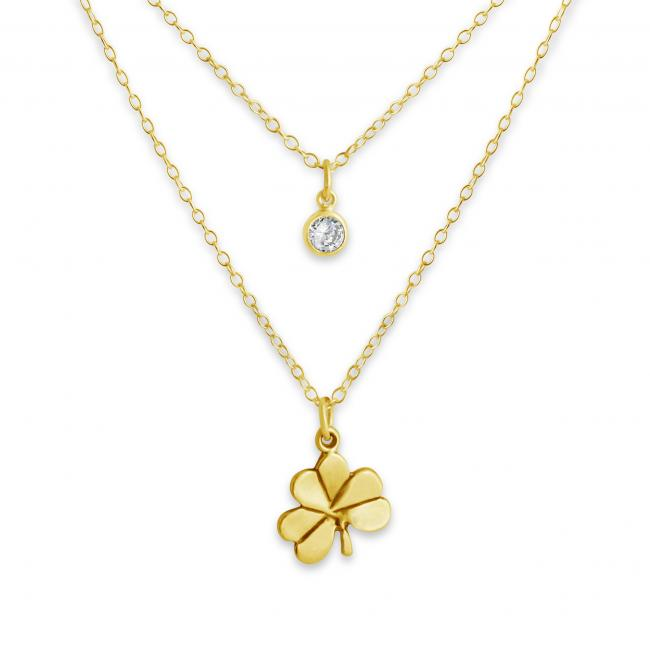 Gold plated necklace Shamrock and CZ w/ Double Chain