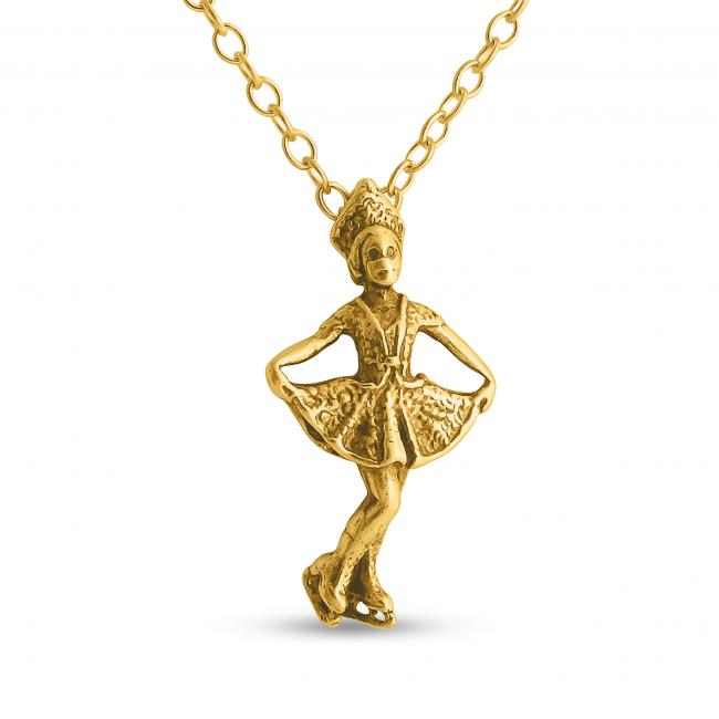 Gold plated necklace 3D Girl Figure Skater Winter Sports Fan