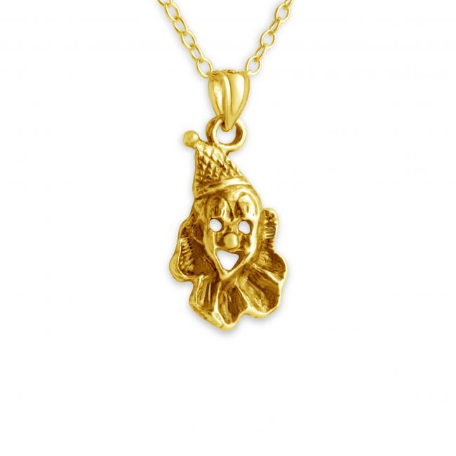 Gold plated necklace Laughing Clown Face