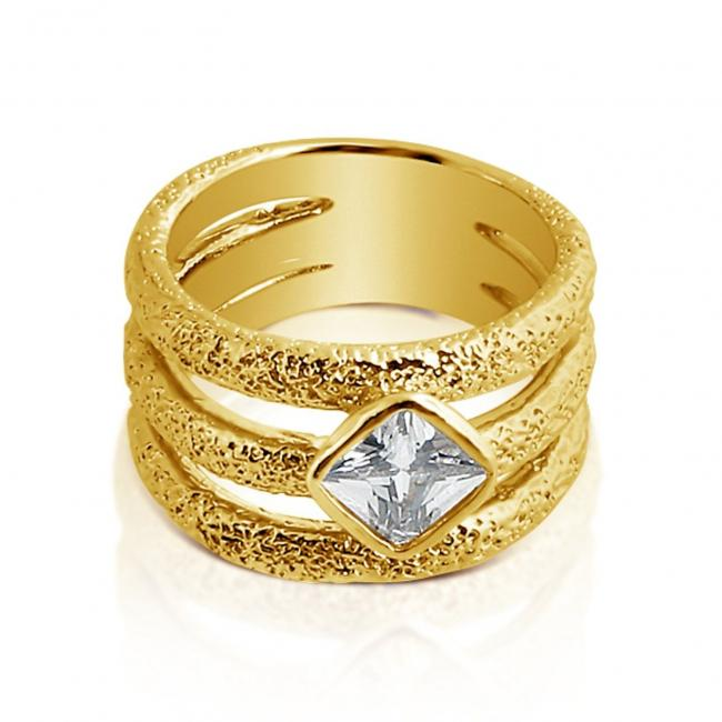 Gold plated ring 3 Band Ring w/ CZ
