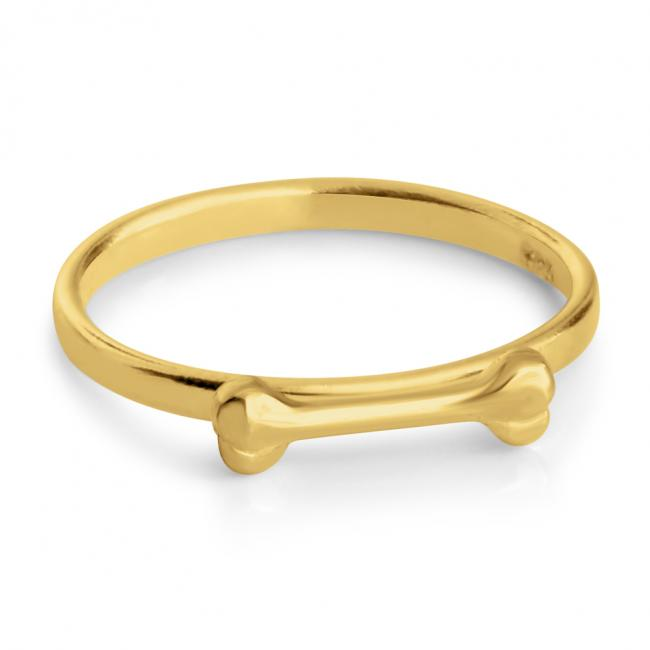 Gold plated ring Dog Bone