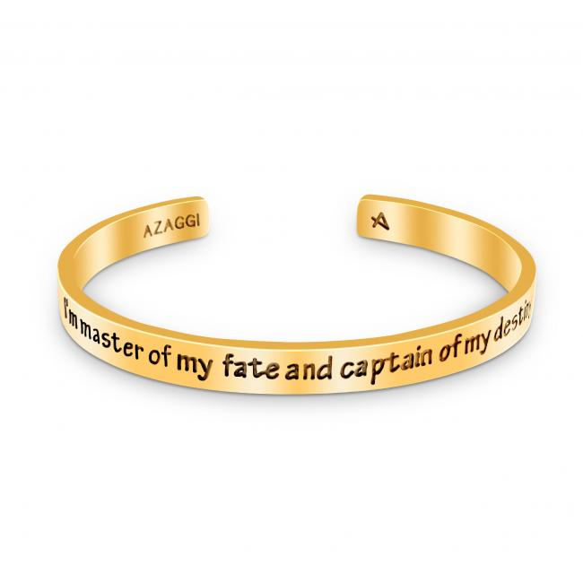 Gold plated bracelet Brass/ Rhodium I'm Master of My Fate and Captain of My Destiny Inspirational Cuff Bracelet
