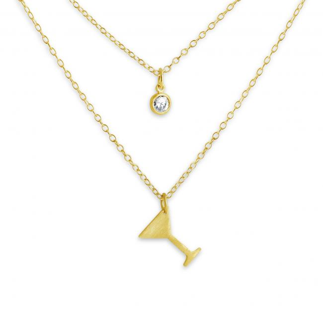Gold plated necklace Martini Glass and CZ w/ Double Chain