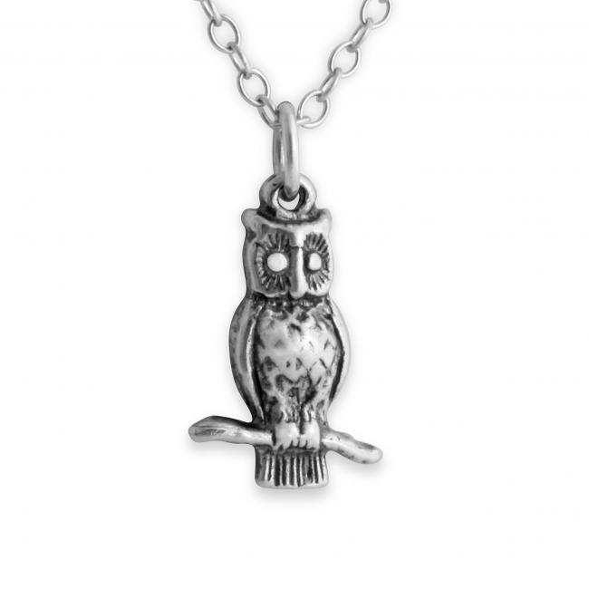 925 sterling silver necklace 3D Tiny Owl Night Bird