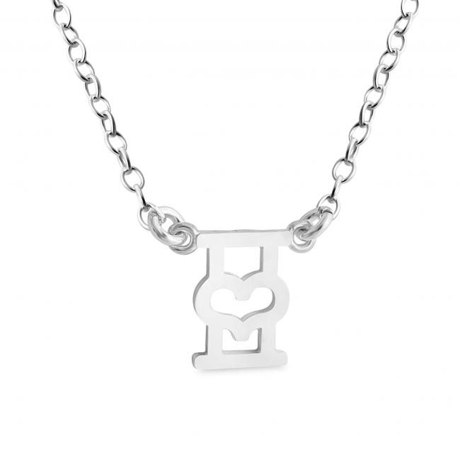 925 sterling silver necklace Initial Letter I with Heart Sideways