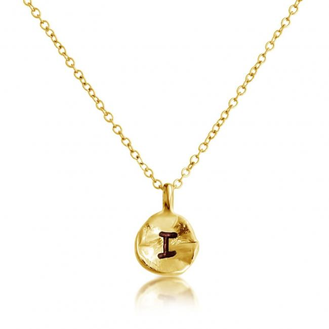 Gold plated necklace Letter I Passion Initial