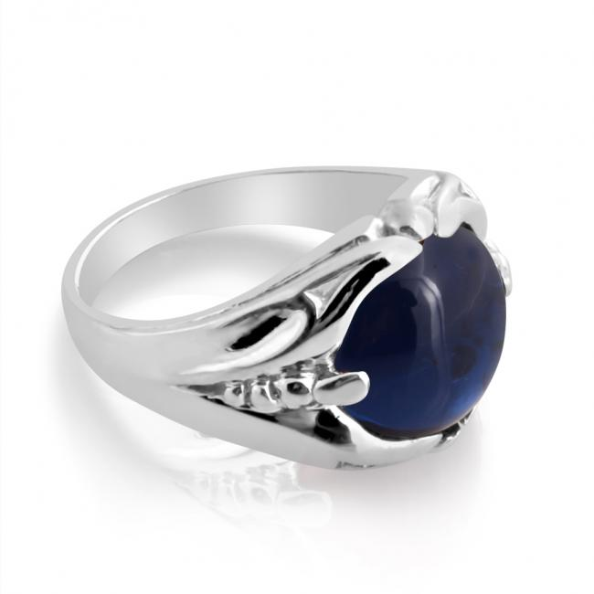 925 sterling silver ring Mens Ring w/ Cabochon Blue Sapphire