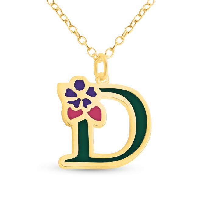 Gold plated necklace Colored Initial Letter D with Flower
