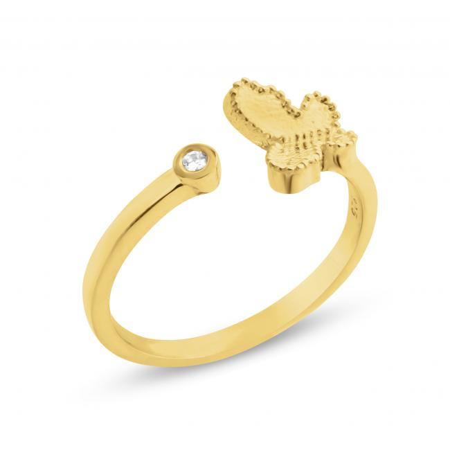 Gold plated ring 2mm (0.03 ct. tw) Diamond Butterfly Resizable