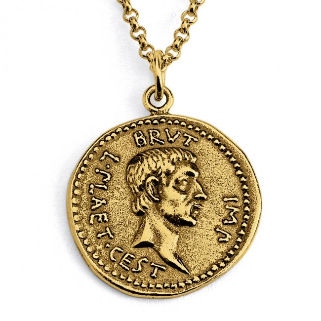 Gold plated necklace Replica Brutus Ancient Roman COIN