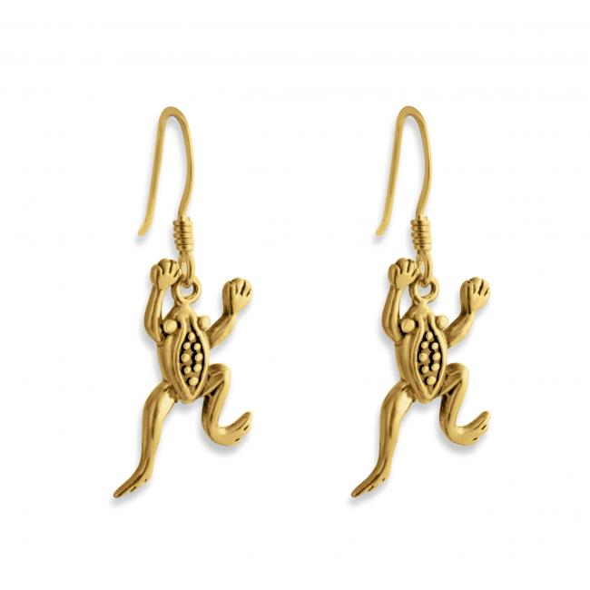 Gold plated earrings Leaping Frog