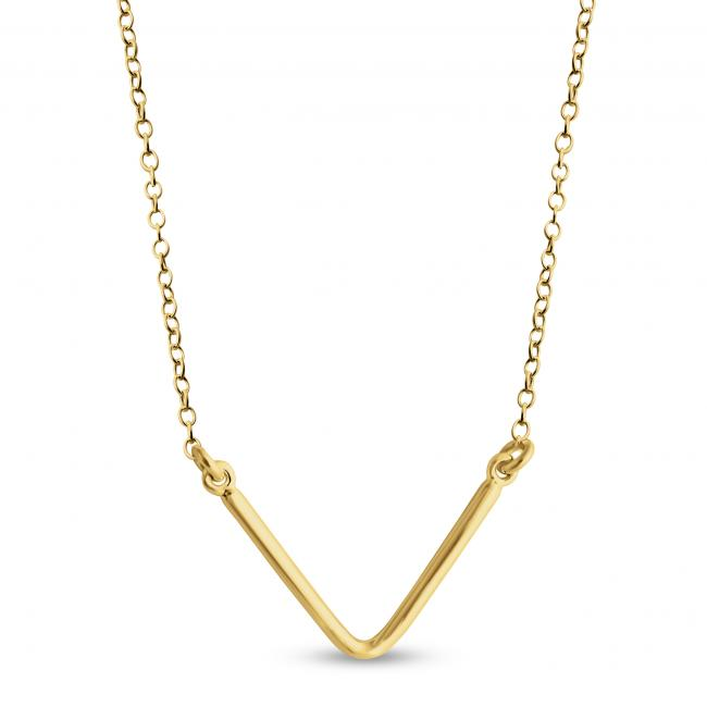 Gold plated necklace Plain V Sideways