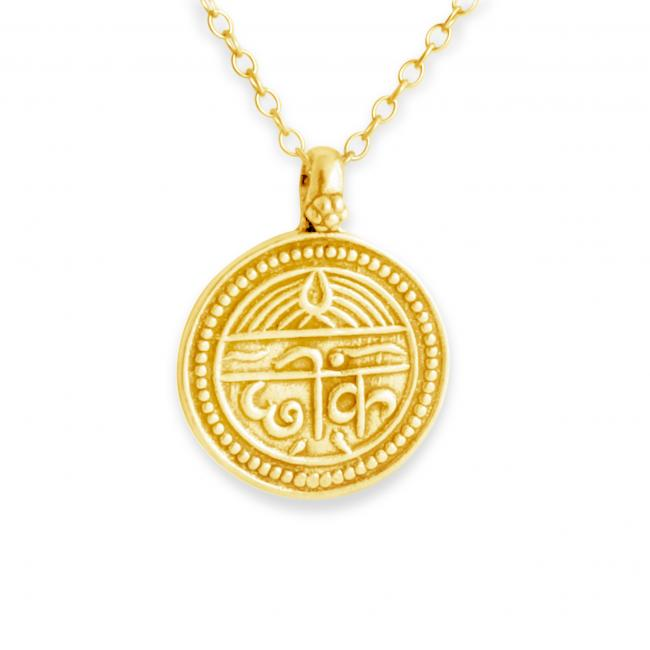 Gold plated necklace Sanskrit Coin for Good Health