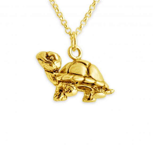Gold plated necklace Walking Tortoise Turtle