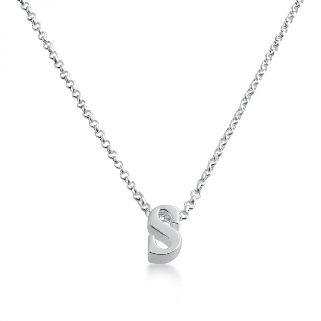 925 sterling silver necklace Initial Letter S Personalized Symbols & Letters Serif Font