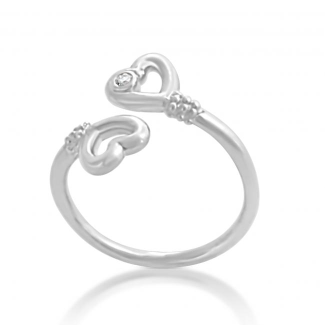 925 sterling silver ring 2mm (0.03 ct. tw) Diamond Two Hearts Lovers