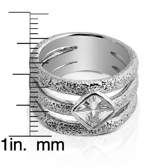 925 sterling silver ring 3 Band Ring w/ CZ