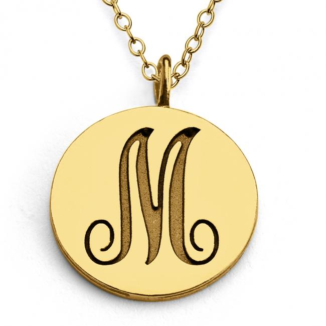 Gold plated necklace M Script Letters