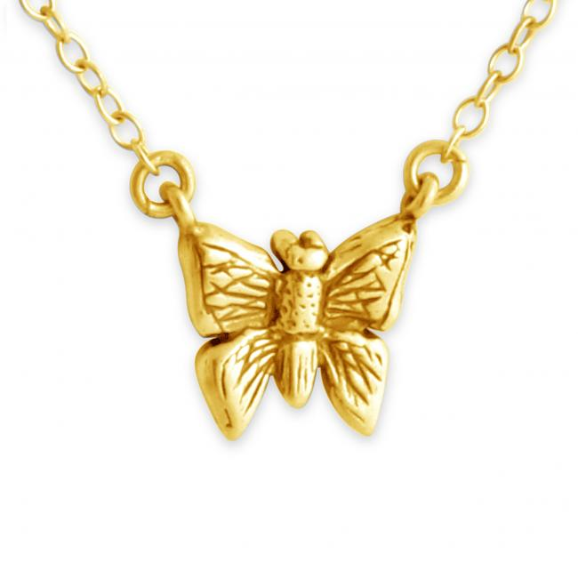 Gold plated necklace Butterfly Jump Ring Necklace