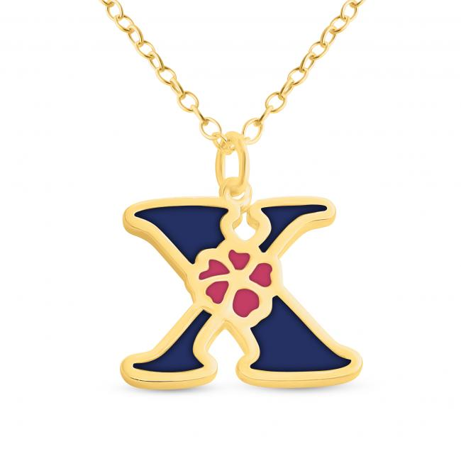 Gold plated necklace Colored Initial Letter X with Flower