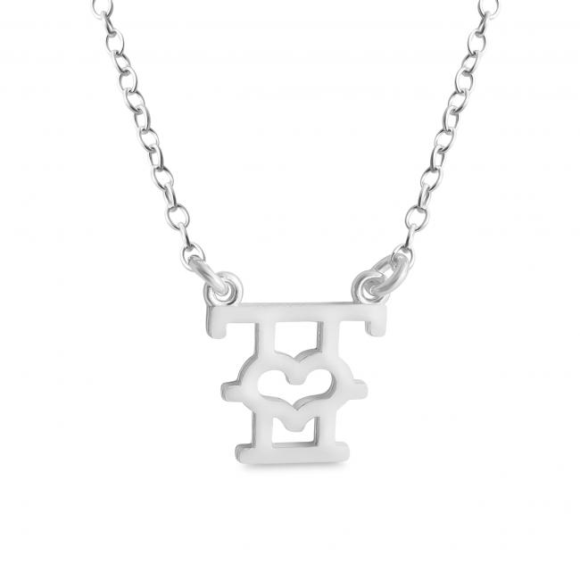 925 sterling silver necklace Initial Letter T with Heart Sideways
