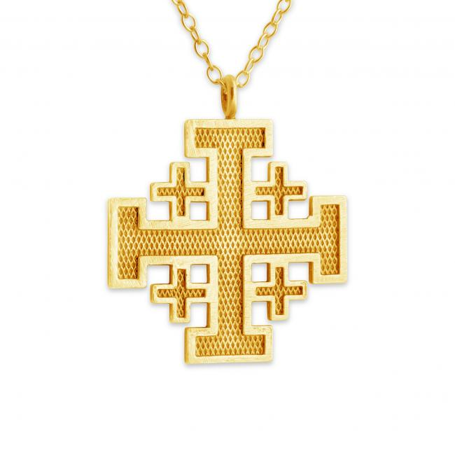 Gold plated necklace Jerusalem Cross Outlined