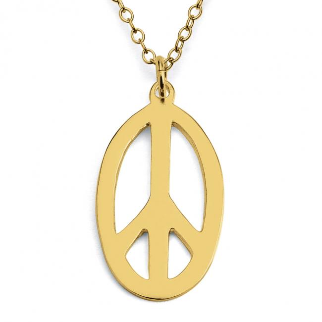 Gold plated necklace Oval Peace Sign Hippie Symbol