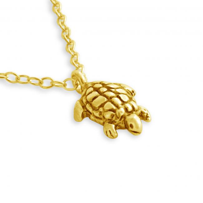 Gold plated necklace 3D Tiny Sea Turtle Tortoise Reptile