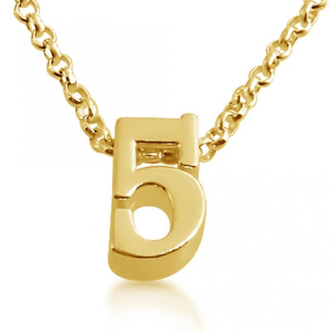 Gold plated necklace Initial Letter 5 Personalized Symbols & Letters Serif Font