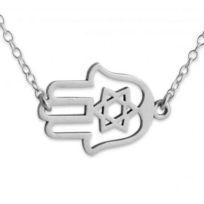 925 sterling silver necklace Judaica Hamsa Hand Jump Ring Necklace