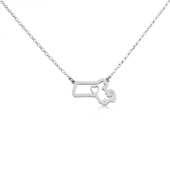 925 sterling silver necklace Massachusets Home is Where The Heart Is State Necklace